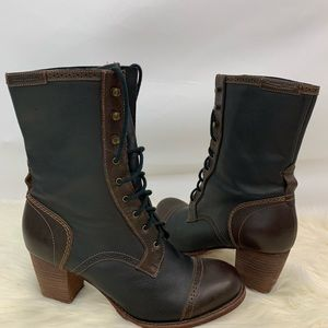 Caterpillar leather lace up ankle block heel boots